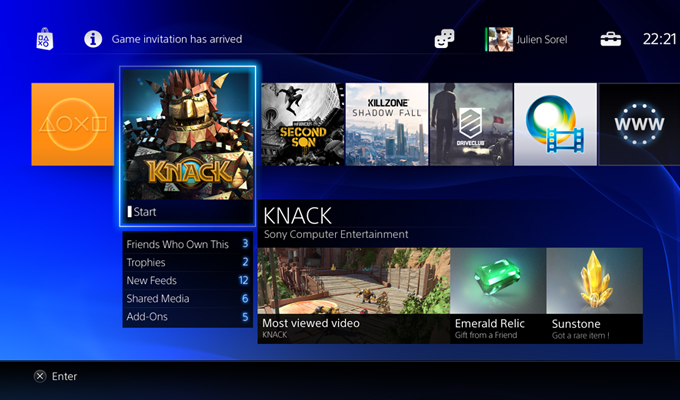 Photo Interface PS4